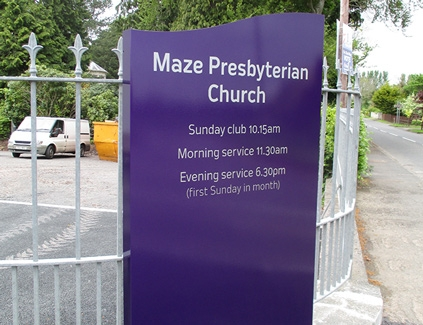 Maze-totem--freestanding-signs