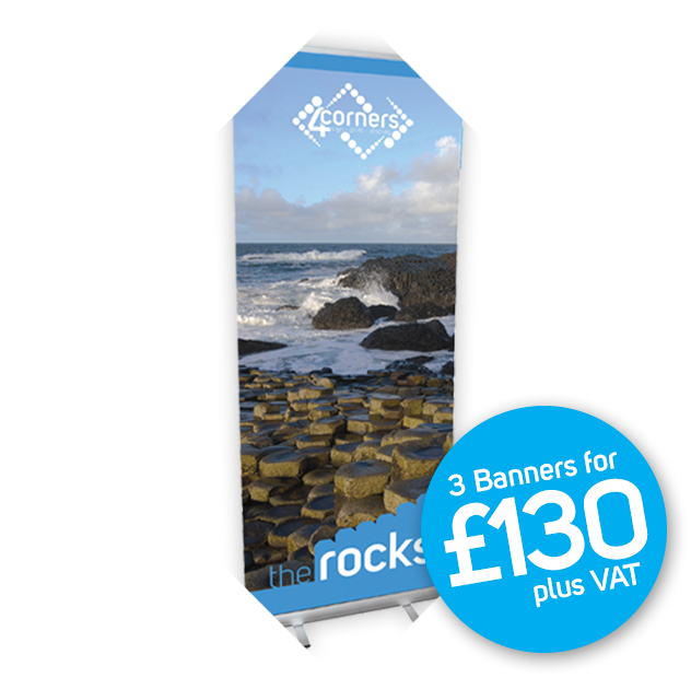 3 Rocks Budget Roll Up Banner Stands (varied designs)