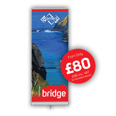 The Bridge Economy Roll Up Banner Stand